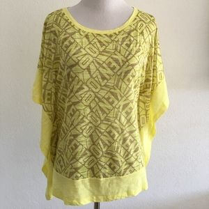 Kenzo Bat Wing Shirt Top Size Medium Yellow